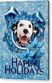 Christmas - Blue Snowflakes Dalmatian Acrylic Print by Renae Crevalle