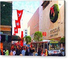 Christmas At Macys In San Francisco . Photoart Acrylic Print by Wingsdomain Art and Photography