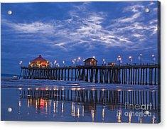 Christmas At The Huntington Beach Pier Acrylic Print