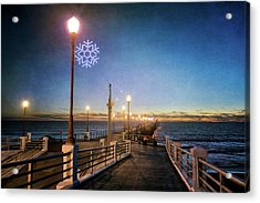 Christmas At The Pier Acrylic Print by Ann Patterson
