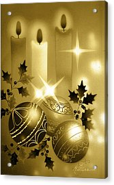 Christmas Balls And Candles Black And Gold Acrylic Print