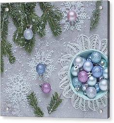 Acrylic Print featuring the photograph Christmas Baubles And Snowflakes by Kim Hojnacki