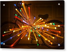 Christmas Bike Abstract Acrylic Print by Garry Gay
