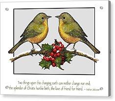 Christmas Card Birds And Friendship Acrylic Print by Joyce Geleynse