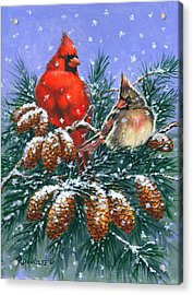 Christmas Cardinals #1 Acrylic Print by Richard De Wolfe