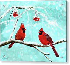 Acrylic Print featuring the painting Christmas Cardinals by Leslie Allen