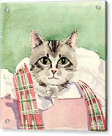 Christmas Cat Acrylic Print by Arline Wagner