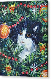 Christmas Catouflage Acrylic Print by Li Newton