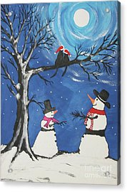 Christmas Cats In Love Acrylic Print