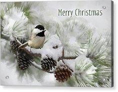 Acrylic Print featuring the photograph Christmas Chickadee by Lori Deiter