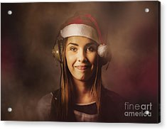 Acrylic Print featuring the photograph Christmas Disco Dj Woman by Jorgo Photography - Wall Art Gallery