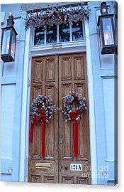 Christmas Door Acrylic Print by Jeanne  Woods
