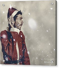 Christmas Elf Hearing In The New Year Celebrations Acrylic Print