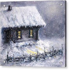 Acrylic Print featuring the painting Christmas Eve by Arturas Slapsys