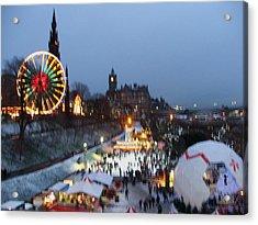 Christmas Fair Edinburgh Scotland Acrylic Print by Heather Lennox