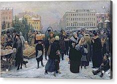 Christmas Fair  Acrylic Print by Heinrich Matvejevich Maniser