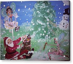 Acrylic Print featuring the painting Christmas Fairies by Judith Desrosiers