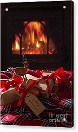 Christmas Gifts By The Fire Acrylic Print by Amanda Elwell