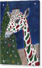 Acrylic Print featuring the painting Christmas Giraffe by Jamie Frier