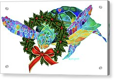 Acrylic Print featuring the painting Christmas Holiday Sea Turtle by Jo Lynch