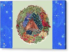 Christmas Horse And Holiday Wreath Acrylic Print