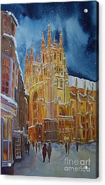 Acrylic Print featuring the painting Christmas In Canterbury by Beatrice Cloake