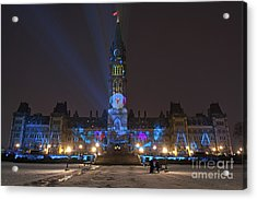 Acrylic Print featuring the photograph Christmas Lights Across Canada.. by Nina Stavlund