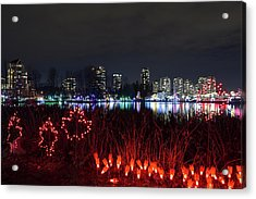Christmas Lights At Lafarge Lake In City Of Coquitlam Acrylic Print