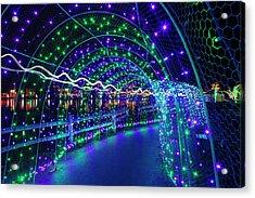 Christmas Lights In Tunnel At Lafarge Lake Acrylic Print