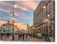 Christmas Lights In Warsaw Acrylic Print