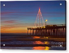 Christmas Lights On The Pismo Pier Acrylic Print