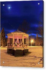 Christmas Moon Over Town Common Acrylic Print by John Burk