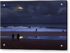 Christmas Moon Setting Over Pipeline Acrylic Print by Sean Davey