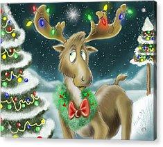 Christmas Moose Acrylic Print by Hank Nunes