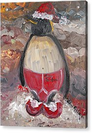 Christmas Penguin Acrylic Print by Nadine Rippelmeyer