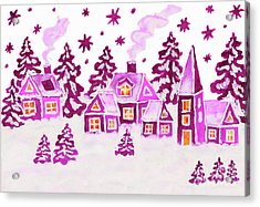 Christmas Picture In Pink Colours Acrylic Print by Irina Afonskaya