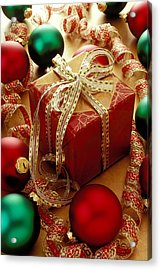 Christmas Present And Ornaments Acrylic Print by Garry Gay