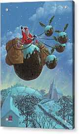 Christmas Pudding Santa Ride Acrylic Print by Martin Davey
