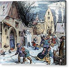 Christmas Scene Acrylic Print by German School