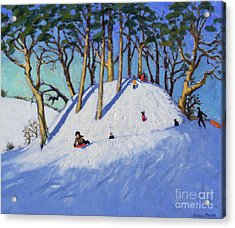 Christmas Sledging  Acrylic Print by Andrew Macara