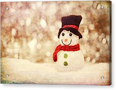 Acrylic Print featuring the photograph Christmas Snowman by Bellesouth Studio