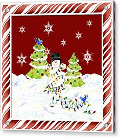 Christmas Snowman W Lights N Trees Snowflakes Candy Cane Stripes Whimsical Acrylic Print by Audrey Jeanne Roberts