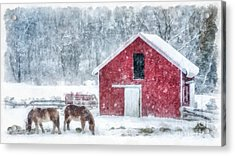 Christmas Snowstorm Vermont Watercolor Acrylic Print by Edward Fielding