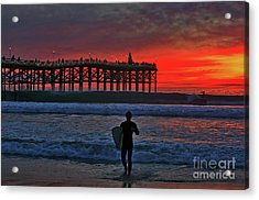 Christmas Surfer Sunset Acrylic Print