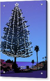 Christmas Tree At Moonlight Beach Encinitas, California Acrylic Print by Mary Helmreich