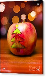 Christmas Tree Painted On Apple Decoration Acrylic Print by Jorgo Photography - Wall Art Gallery