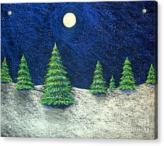 Christmas Trees In The Snow Acrylic Print by Nancy Mueller