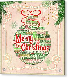 Christmas Words Ornament Acrylic Print by Bedros Awak