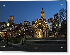 Christopher Columbus Park Boston Ma Trellis Custom House Acrylic Print
