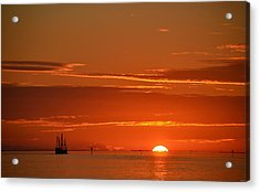 Christopher Columbus Replica Wooden Sailing Ship Nina Sails Off Into The Sunset Acrylic Print by Jeff at JSJ Photography